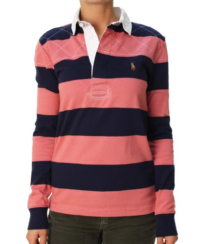 Ralph lauren sport women striped long sleeve pony logo for Pink and purple striped rugby shirt